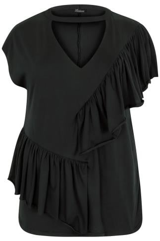 LIMITED COLLECTION Black V-Neck Frill Top