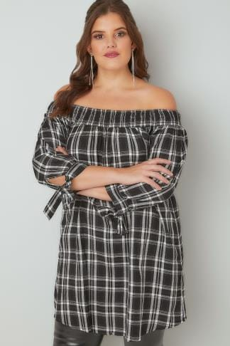 Bardot & Cold Shoulder Tops LIMITED COLLECTION Black & White Checked Bardot Top With Tie Sleeves 210197