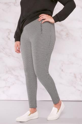 Jeggings LIMITED COLLECTION Black & White Gingham Jeggings With Double Zip Detail 210096