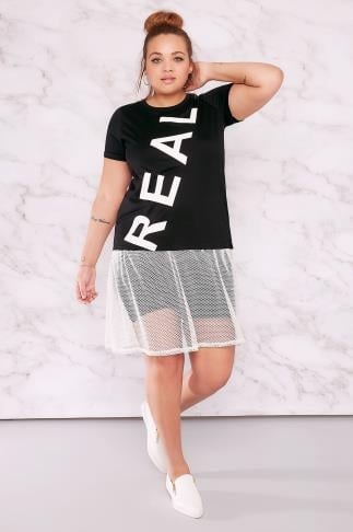 Jersey Tops LIMITED COLLECTION Black & White 'Real' Top With Fishnet Mesh Hem 210089