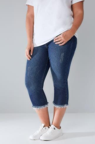 Cropped Jeans LIMITED COLLECTION Blue Distressed Denim Cropped Jeans With Lacy Hem 210144