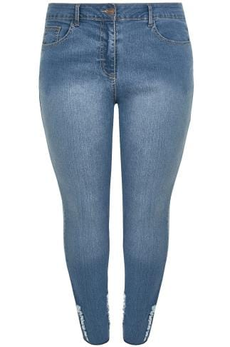 LIMITED COLLECTION Blue Denim Skinny Jeans With Frayed Detail & Raw Cuffs