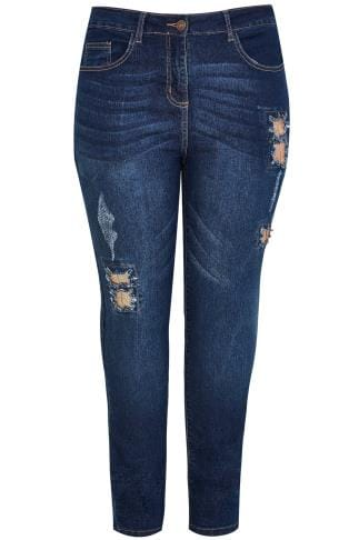 LIMITED COLLECTION Blue Denim Skinny Jeans With Sequin Detail
