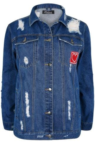 LIMITED COLLECTION Blue Distressed Denim Jacket With Embroidered Heart Badge