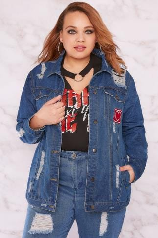 Denim Jackets LIMITED COLLECTION Blue Distressed Denim Jacket With Embroidered Heart Badge 210048