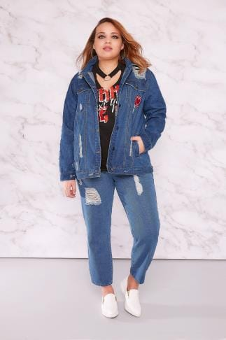 Boyfriend & Slouch Jeans LIMITED COLLECTION Blue Distressed Mom Jeans 210051