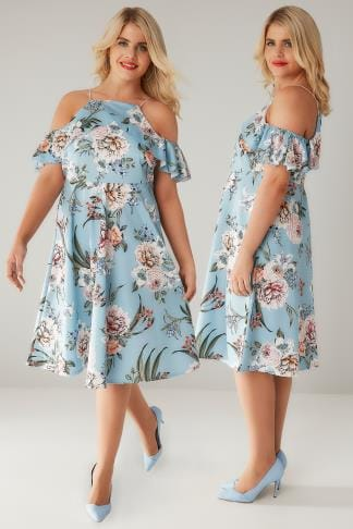 Partykleider LIMITED COLLECTION Blue Floral Print Cold Shoulder Dress With High Neck Frill 210210
