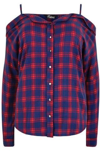 Chemises LIMITED COLLECTION Blue & Red Checked Shirt With Cold Shoulders 210201