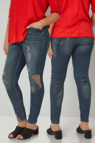 Skinny Jeans LIMITED COLLECTION Blue Vintage Washed Skinny Jeans With Patchwork Details 210182