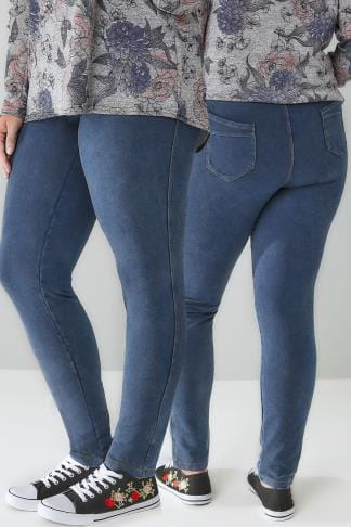 Jeggins LIMITED COLLECTION Blue Washed Denim Pull On Stretch Jeggings 210206