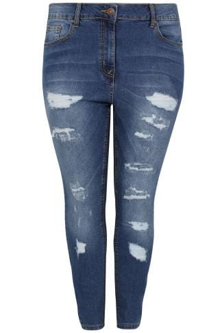 LIMITED COLLECTION Blue Washed Ripped Skinny Jeans