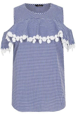 LIMITED COLLECTION Blue & White Gingham Blouse With Frill & Crochet Trim