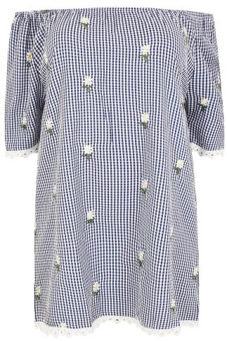 Swing & Shift Dresses LIMITED COLLECTION Blue & White Gingham & Daisy Bardot Tunic Dress 210060