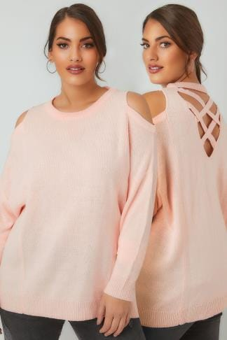 Jumpers LIMITED COLLECTION Blush Pink Cold Shoulder Knitted Jumper With Lattice Back 210187