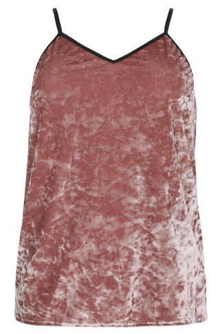 LIMITED COLLECTION Blush Pink Crushed Velvet Cami Top