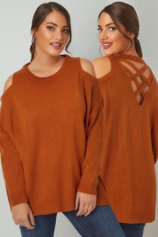 Jumpers LIMITED COLLECTION Burnt Orange Cold Shoulder Knitted Jumper With Lattice Back 210188
