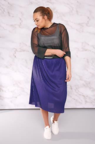 Mi longues LIMITED COLLECTION Cobalt Blue Pleated Overlay Skirt With Stripe Waistband 210019