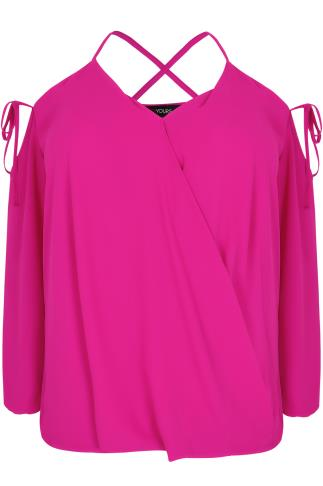 LIMITED COLLECTION Hot Pink Cold Shoulder Wrap Top With Lattice Straps