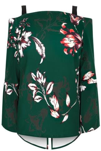 LIMITED COLLECTION Dark Green Floral Print Cold Shoulder Top With Flute Sleeves