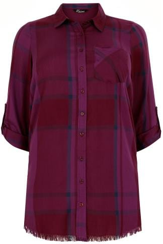 Shirts LIMITED COLLECTION Dark Purple Checked Shirt With Frayed Hem & Roll Up Sleeves 210203