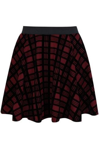 LIMITED COLLECTION Dark Red Checked Mini Skater Skirt