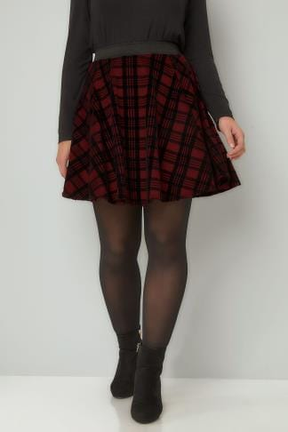 Skater Skirts LIMITED COLLECTION Dark Red Checked Mini Skater Skirt 210264