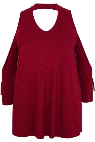 LIMITED COLLECTION Dark Red Polka Dot Open Arm Top With Choker Neck