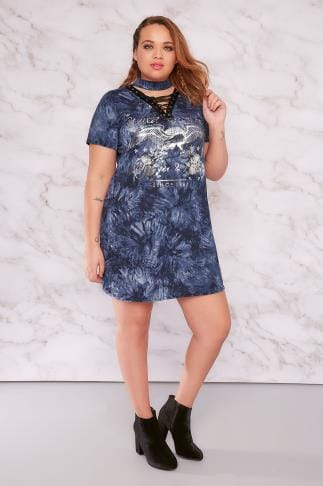 "Jersey Tops LIMITED COLLECTION Denim Blue ""Wild & Free"" Foil Print Lace Up Top 210135"