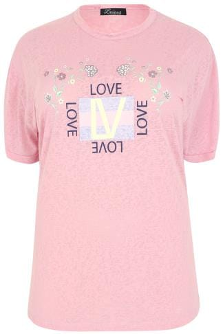 "LIMITED COLLECTION Dusky Pink ""Love"" Slogan Burnout T-Shirt"