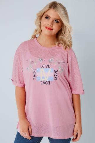 "T-Shirts LIMITED COLLECTION Dusky Pink ""Love"" Slogan Burnout T-Shirt 210208"