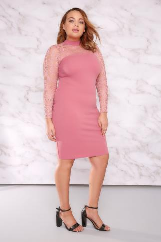 Party Dresses LIMITED COLLECTION Dusky Pink Turtle Neck Mini Dress With Lace Detail 210011