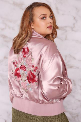 Jackets LIMITED COLLECTION Dusty Pink Silky Embroidered Bomber Jacket 210016