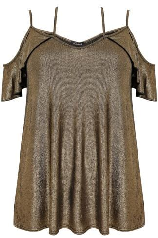 Bardot & Cold Shoulder Tops LIMITED COLLECTION Gold Metallic Cold Shoulder Top With Cross Over Straps 210237