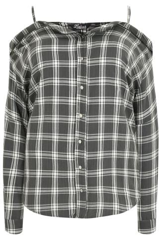Col bateau LIMITED COLLECTION Grey Checked Shirt With Cold Shoulders 210205