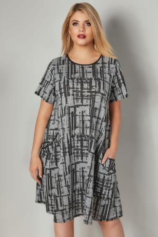 Swing & Shift Dresses LIMITED COLLECTION Grey Checked Swing Dress With Front Pockets & PU Neckline 210333