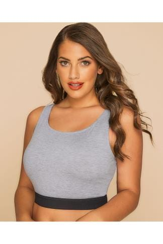 Jersey Tops LIMITED COLLECTION Grey Crop Top With Black Elastic Waistband 210041