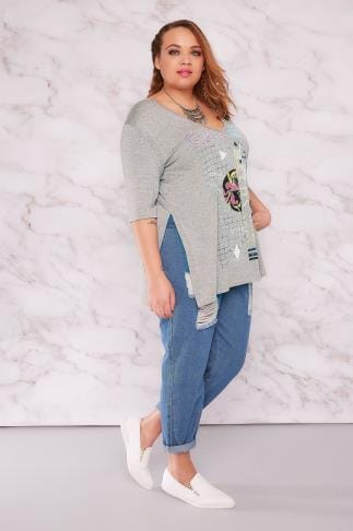 "Jersey Tops LIMITED COLLECTION Grey ""GALAXY"" Print Deep V-Neck Top 210116"