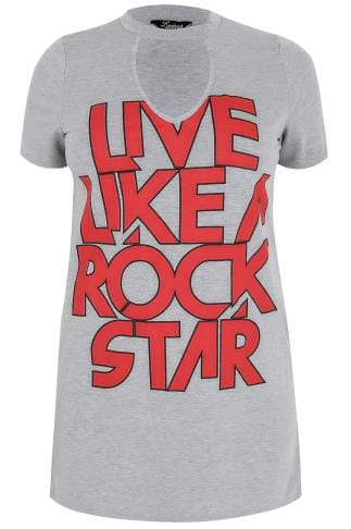 "LIMITED COLLECTION Grey ""Live Like A Rock Star"" T-Shirt With Choker Neck"