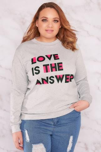 "Sweatshirts LIMITED COLLECTION Grey ""Love Is The Answer"" Sweat Top With Open Back 210107"