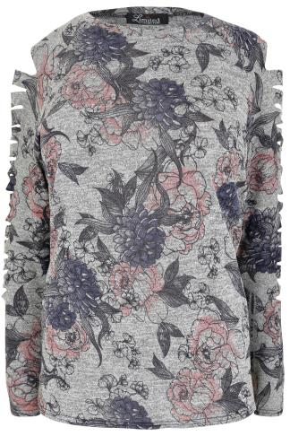 LIMITED COLLECTION Grey Marl Floral Sweatshirt With Slash Arm Detail