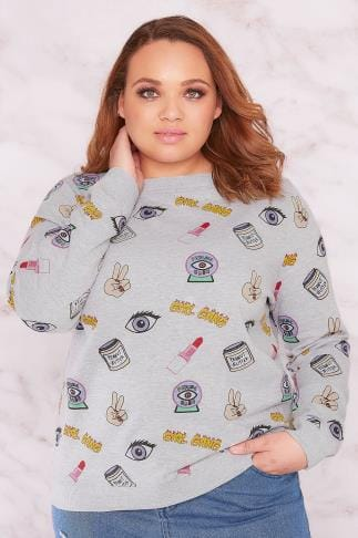 "Sweatshirts LIMITED COLLECTION Grey & Multi ""Girl Gang"" Sweat Top 210056"