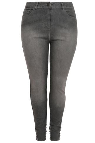 LIMITED COLLECTION Graue Skinny-Jeans mit ausgefranstem Saum