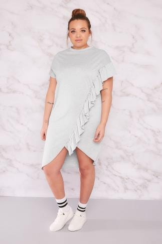 Sleeved Dresses LIMITED COLLECTION Grey Sweat Dress With Asymmetric Frill 210114
