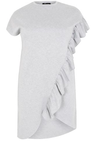 LIMITED COLLECTION Grey Sweat Dress With Asymmetric Frill