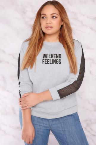 "Sweatshirts LIMITED COLLECTION Grey ""Weekend Feelings"" Sweatshirt With Netted Mesh Inserts 210020"