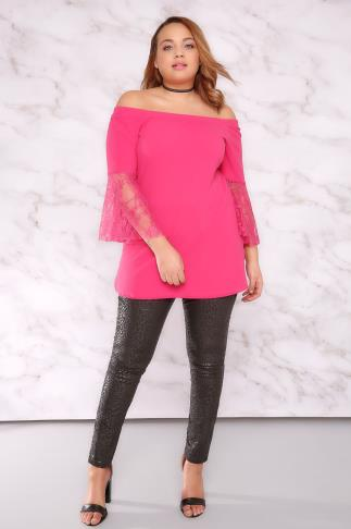 Bardot & Cold Shoulder Tops LIMITED COLLECTION Hot Pink Bardot Top With Lace Flute Sleeves 210003