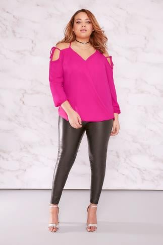 LIMITED COLLECTION Hot Pink Cold Shoulder Wrap Top With Lattice Straps 210030
