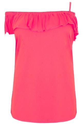 LIMITED COLLECTION Hot Pink One Shoulder Strap Top With Frill Panel
