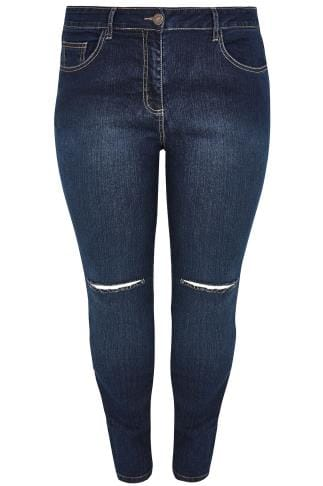 LIMITED COLLECTION Indigo Blue Denim Skinny Jeans With Ripped Knees