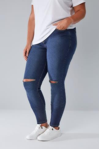 Skinny Jeans LIMITED COLLECTION Indigo Blue Denim Skinny Jeans With Ripped Knees 210149